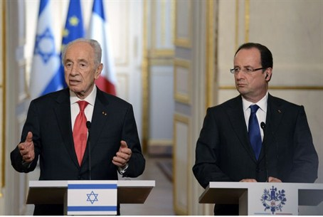 Hollande and Peres hold a press conference in