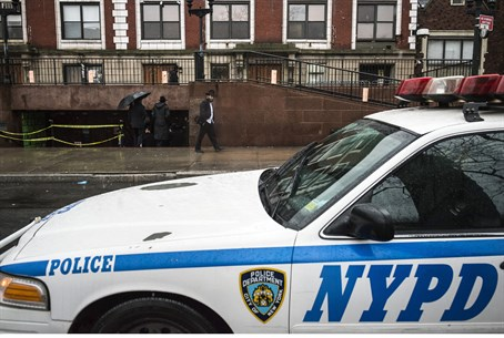 Police vehicle outside Chabad-Lubavitch center in New York