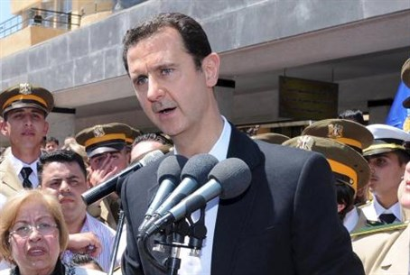Assad addresses supporters, May 9, 2015.