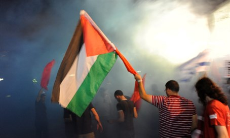 Arab protest with PLO flag (file)