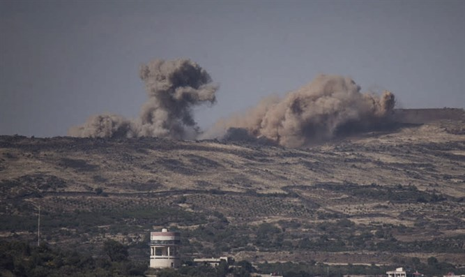 View from Israeli Golan Heights of fighting in Syria (file)