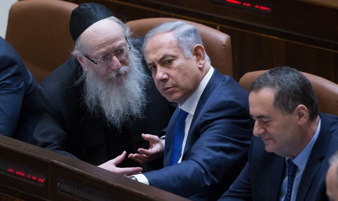 Binyamin Netanyahu speaks with Yaakov Litzman