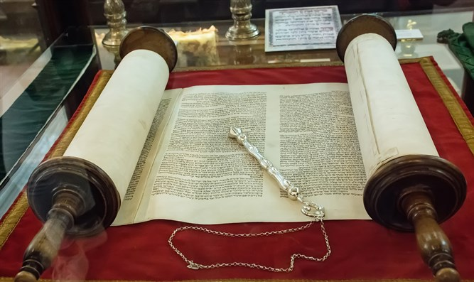 Torah scroll at the Klausen synagogue in Prague, Czech Republic