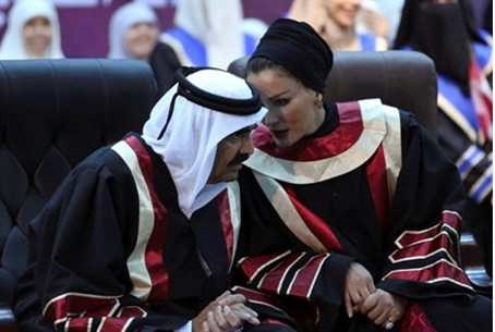 Emir of Qatar Sheikh Hamad and his his wife