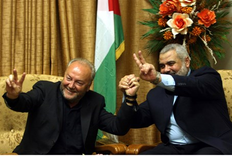 Galloway (L) with Hamas leader Haniyeh