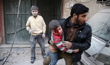 Syrian man carries boy injured by regime shelling (illustration)
