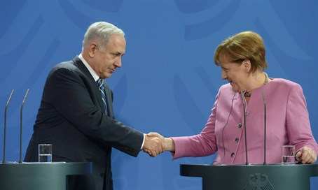 Netanyahu and Merkel at press conference in Berlin