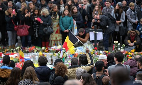 Memorial to Brussels bombings victims