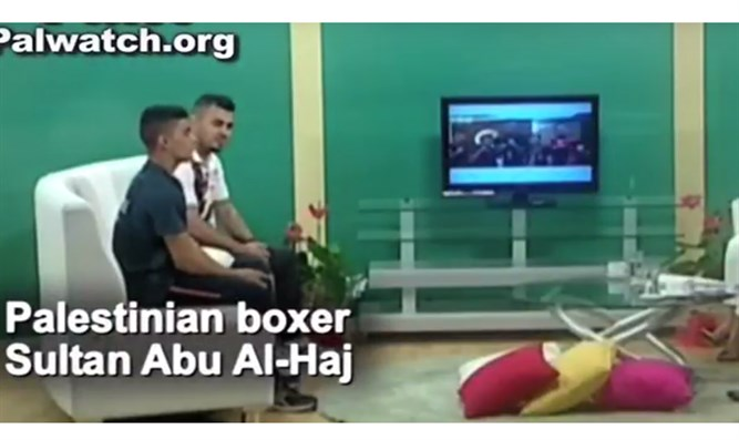 Palestinian boxer on television