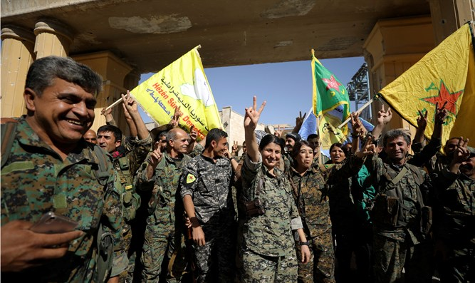 Celebrating SDF forces in Raqqa