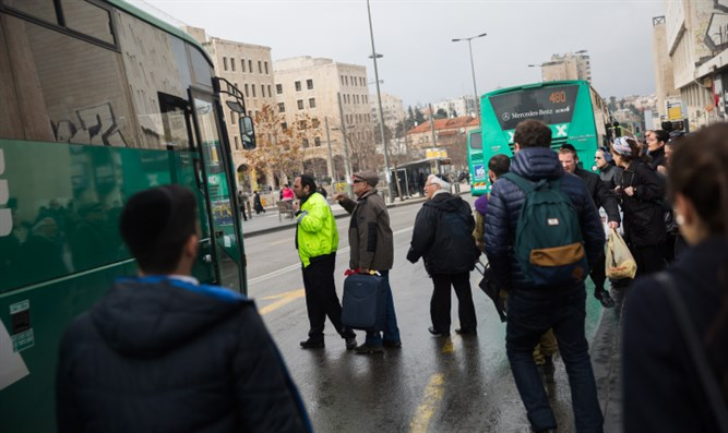 Buses stop near Jerusalem's Central Bus Station
