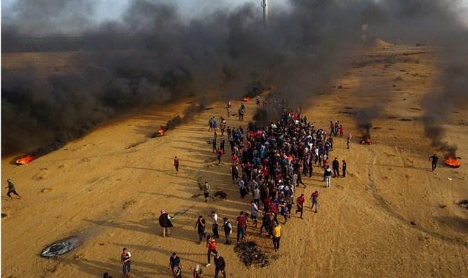 Drone view of Gaza border riot