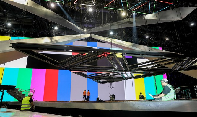 Workers prepare stage ahead of opening Eurovision Song Contest