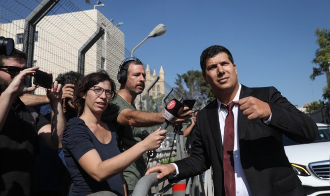 Netanyahu's attorney Amit Hadad arrives at the Justice Ministry in Jerusalem