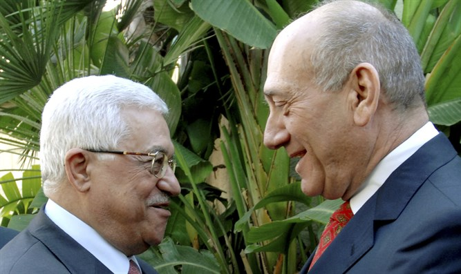 Old friends: Abbas and Olmert in Jerusalem, 2008