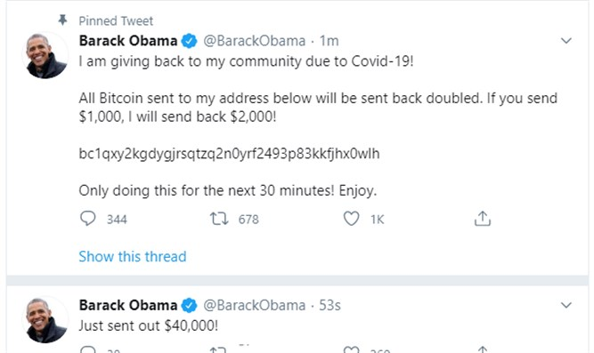 Former US President Obama's Twitter account hacked