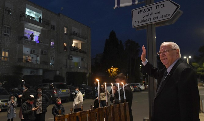 President Rivlin at Hanukkah candle-lighting outside the President's Residence
